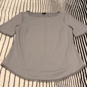 Ann Taylor Short Sleeve Blouse with Trim